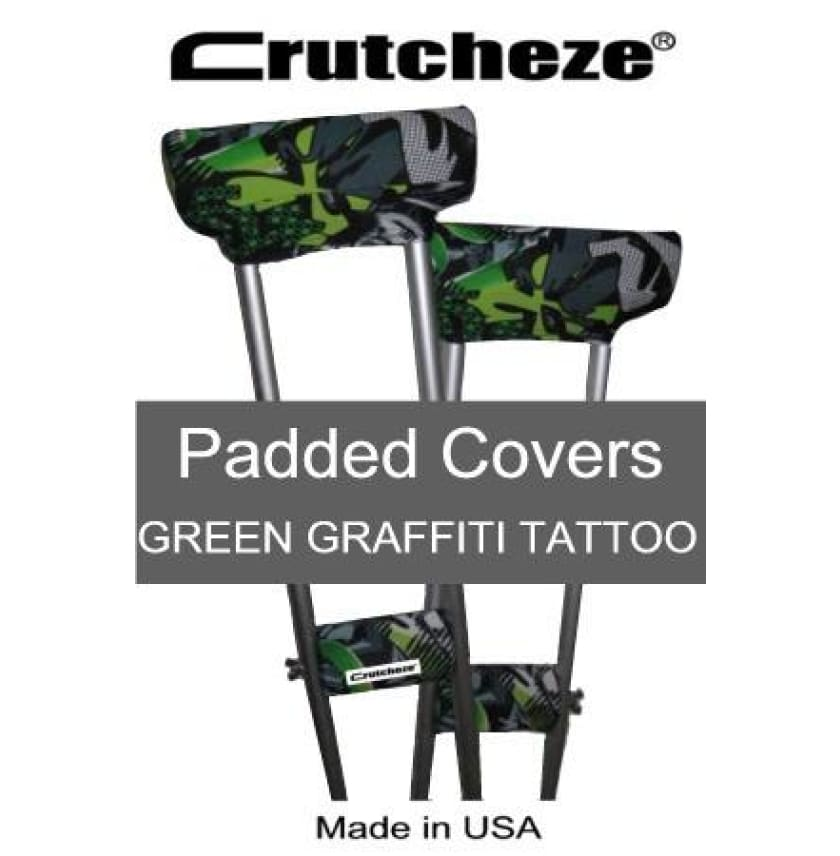 CRUTCHEZE CRUTCH PADDED COVERS - GREEN GRAFFITI TATTOO - CRUTCH-Padsn Grips