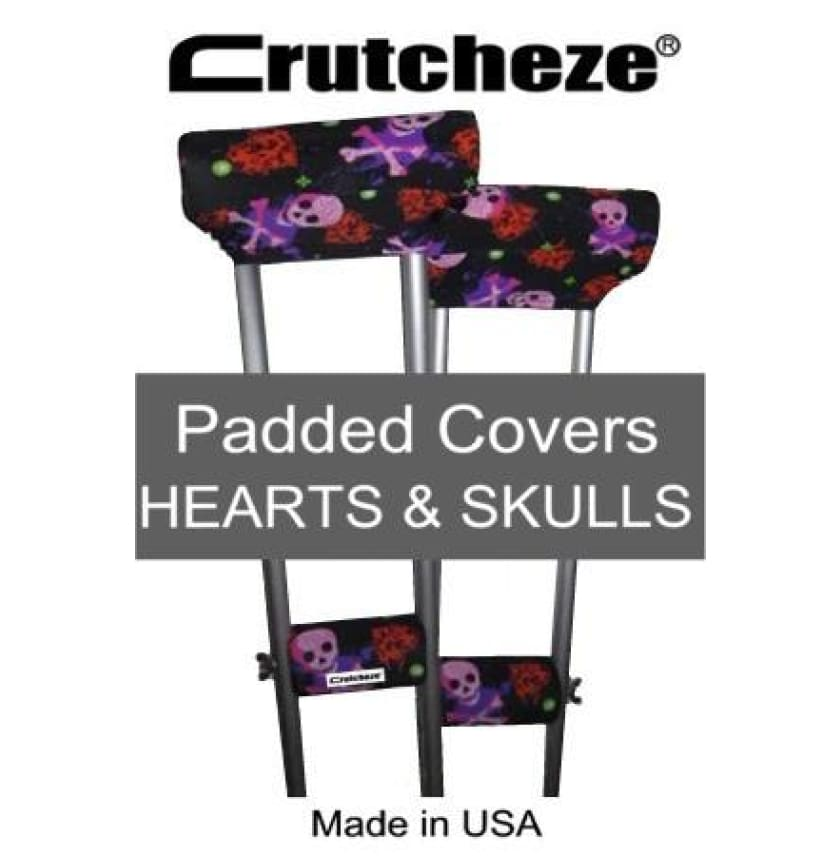 CRUTCHEZE CRUTCH PADDED COVERS - HEARTS AND SKULLS - CRUTCH-Padsn Grips
