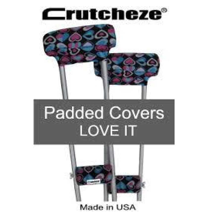 CRUTCHEZE CRUTCH PADDED COVERS - LOVE IT Pink/Blue - CRUTCH-Padsn Grips