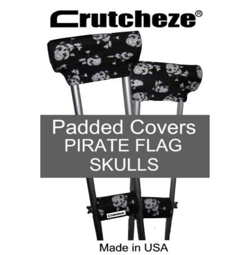 CRUTCHEZE CRUTCH PADDED COVERS - PIRATE FLAG SKULLS - CRUTCH-Padsn Grips