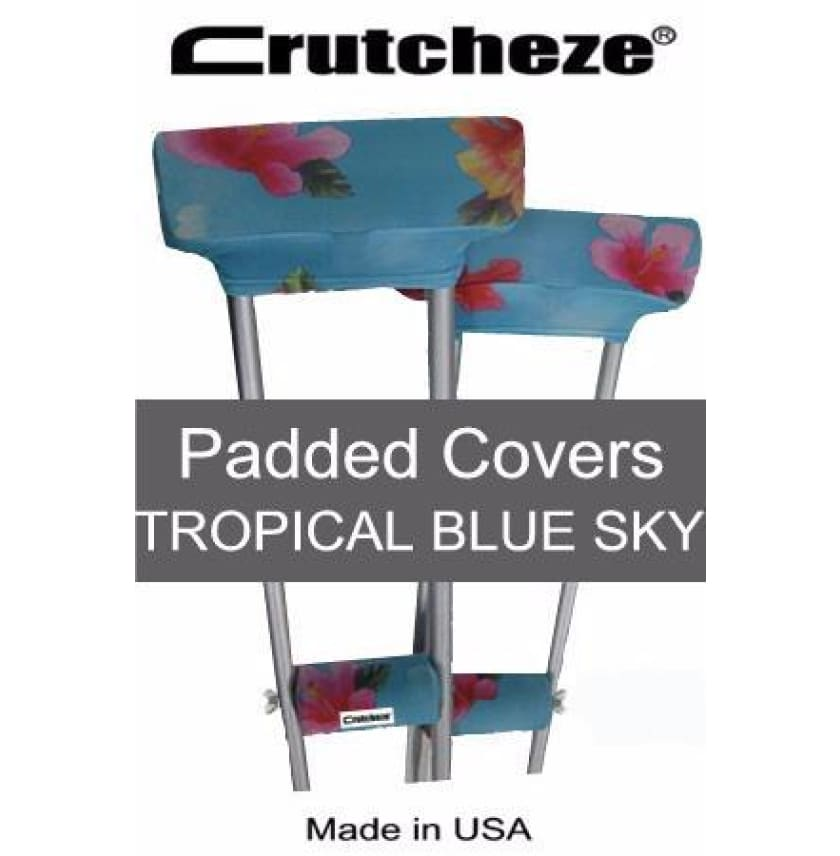 CRUTCHEZE CRUTCH PADDED COVERS - TROPICAL BLUE SKY - CRUTCH-Padsn Grips