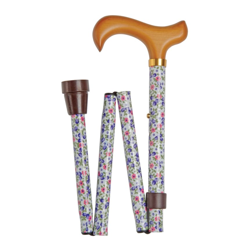 FOLDING CANE-Floral on White - NEW ARRIVALS