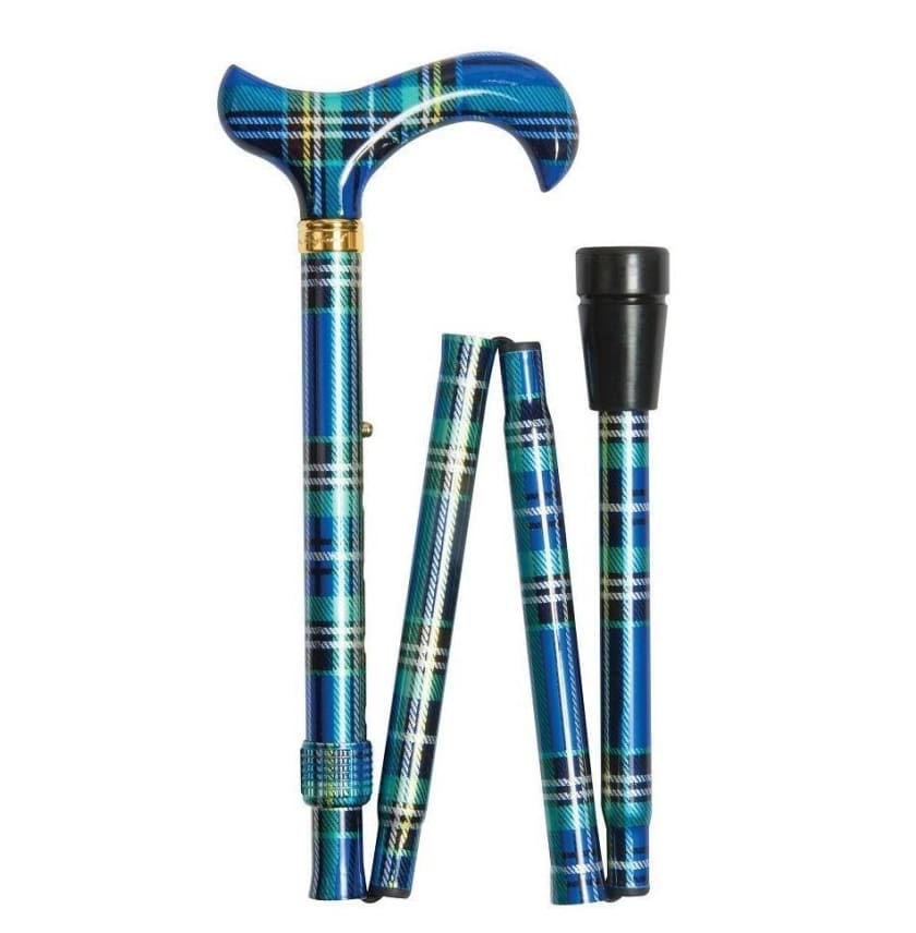 FOLDING CANE PATTERNS GALORE BLUE TARTAN - CANES