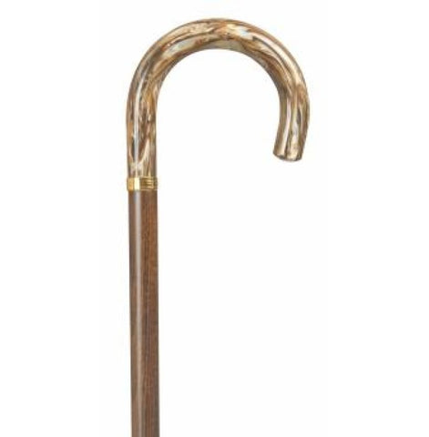 GOLDEN BEIGE MARBLE ACRYLIC HOOK CANE