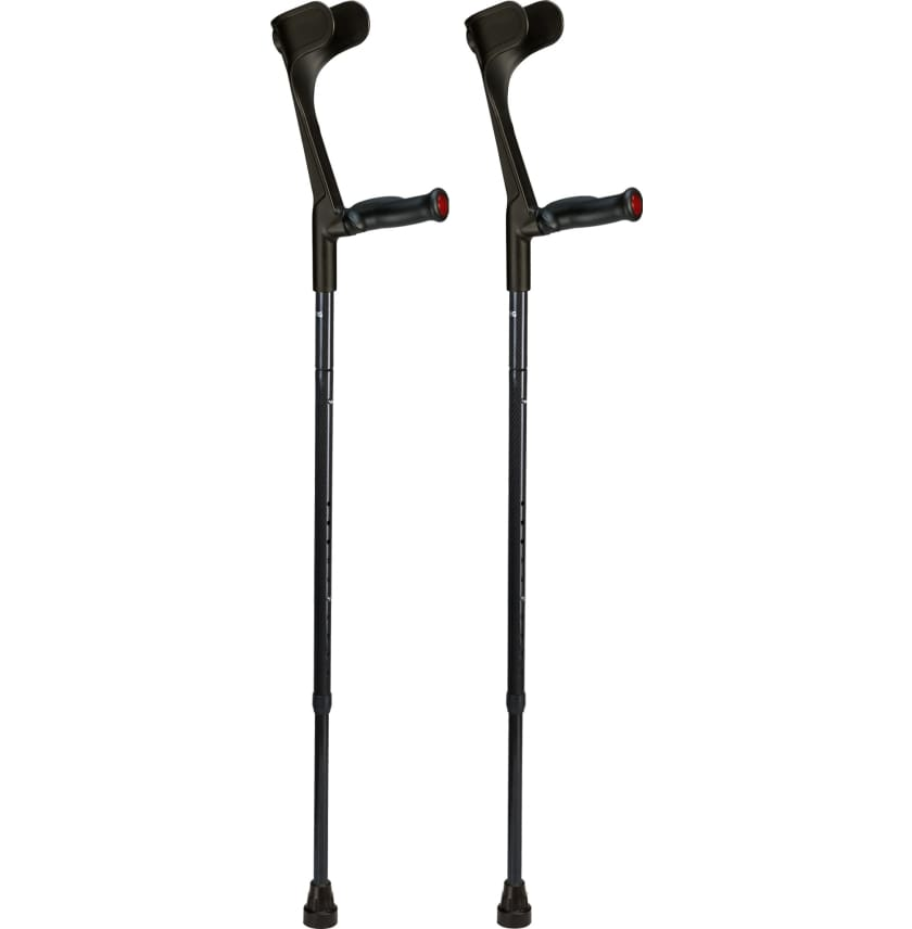 OSSENBERG FOLDING CARBON FIBER FOREARM CRUTCHES - ANATOMIC GRIP - Black - CRUTCHES-Forearm