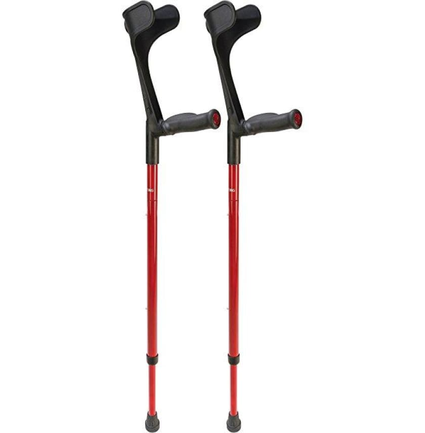 OSSENBERG FOLDING CARBON FIBER FOREARM CRUTCHES - ANATOMIC GRIP - Red - CRUTCHES-Forearm