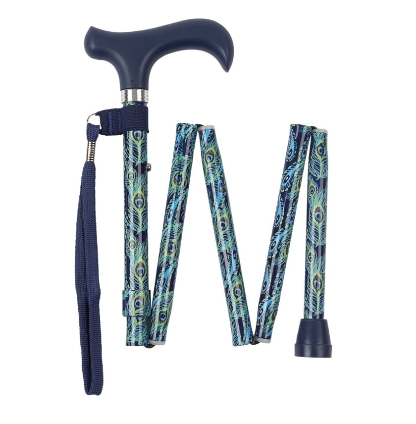 PEACOCK FEATHERS FOLDING CANE - NEW ARRIVALS