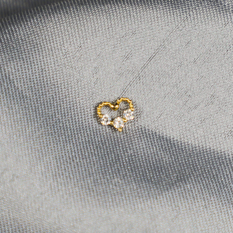14K Solid Gold Diamond Heart Single Ear Studs-Limited Edition-La Meno