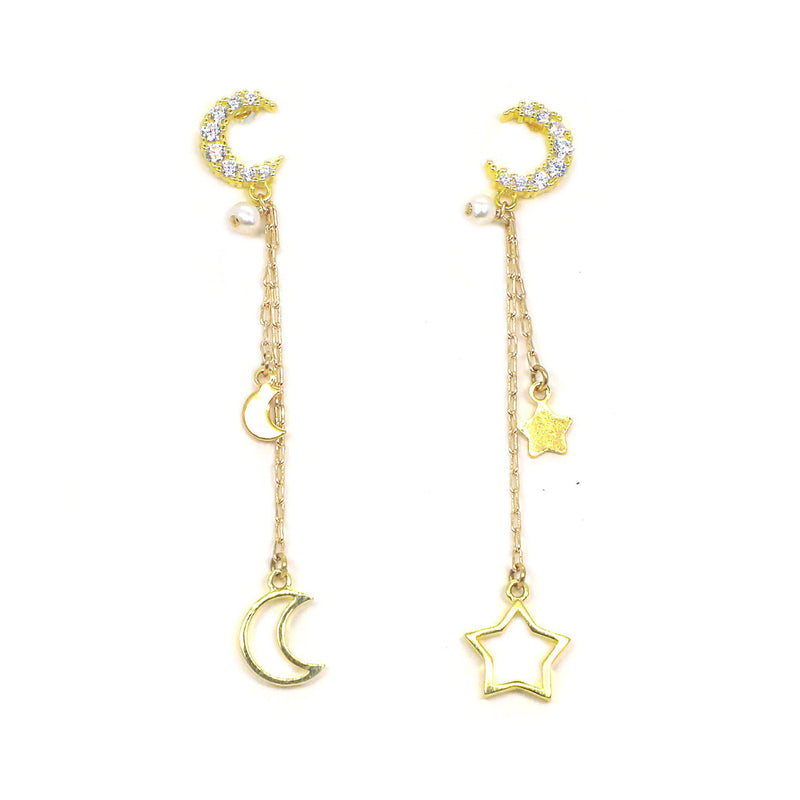 Moon & Star Asymmetric Earring