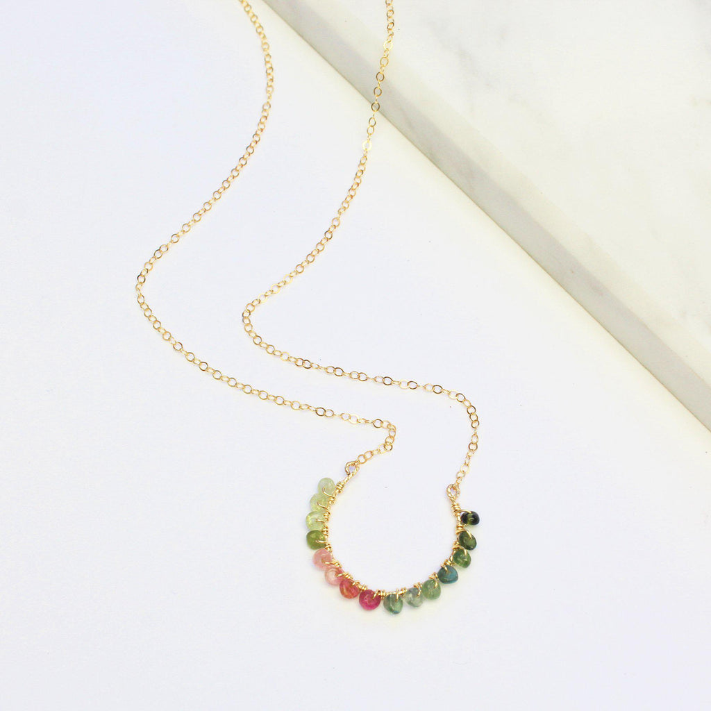Crescent Rainbow Necklace-Adorn Necklace-La Meno
