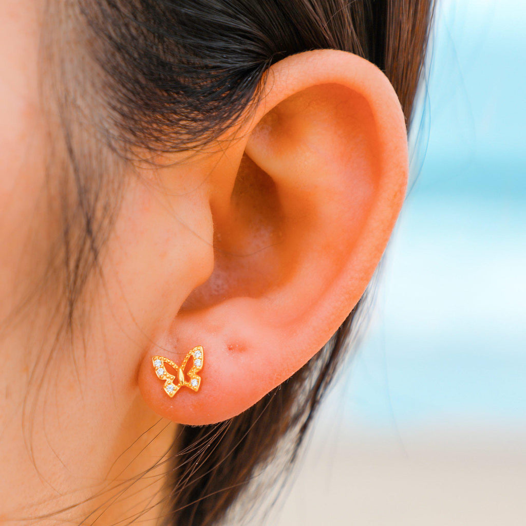 Golden Butterfly Ear Studs-Limited Edition-La Meno