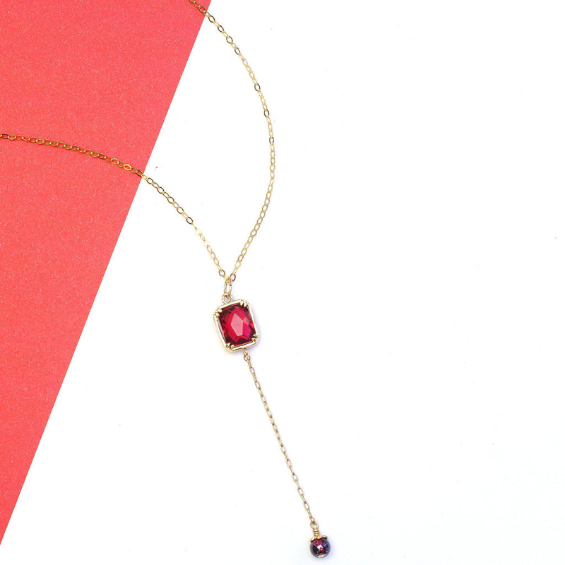 Garnet Necklace-Dangling Necklace-La Meno