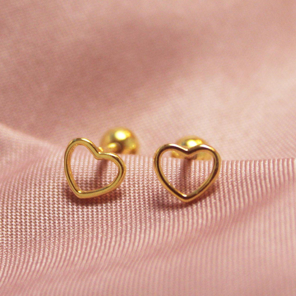 Gold Heart Screw Back Earring-Limited Edition-La Meno
