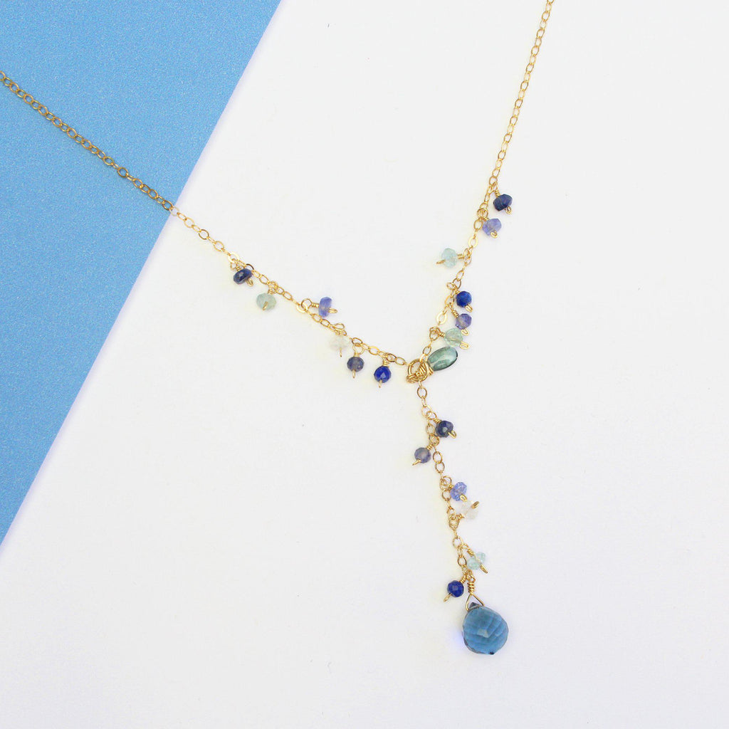 Luxe Treasure Necklace: Blue Ocean-Adorn Necklace-La Meno