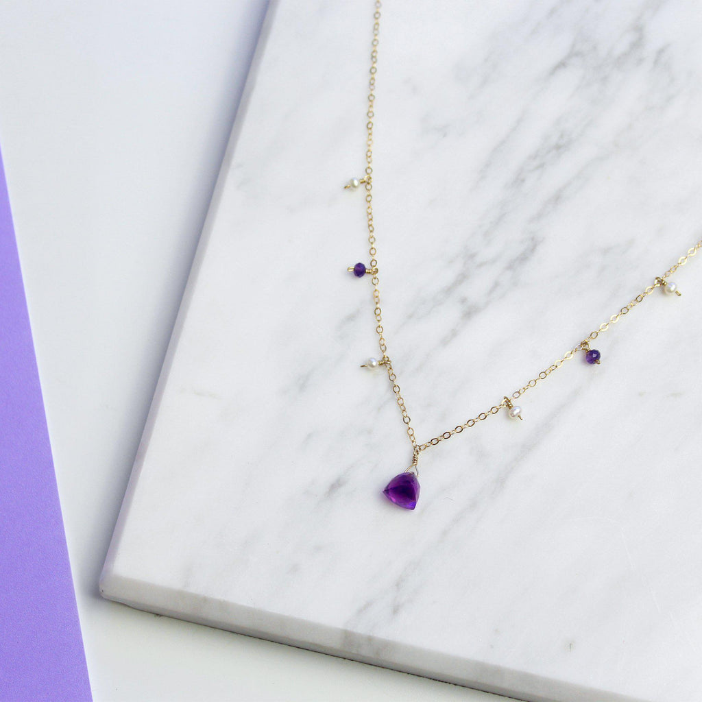MiniDot Necklace: Amethyst Gem-Adorn Necklace-La Meno