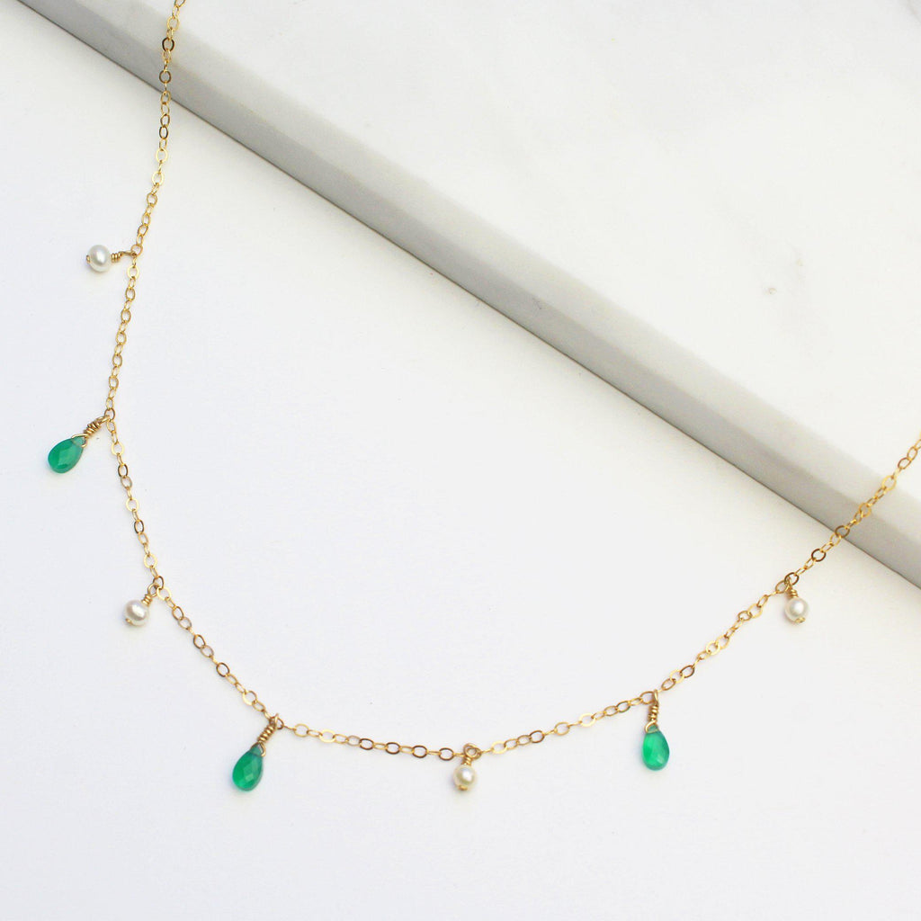 MiniDot Necklace: Green Onyx-Adorn Necklace-La Meno