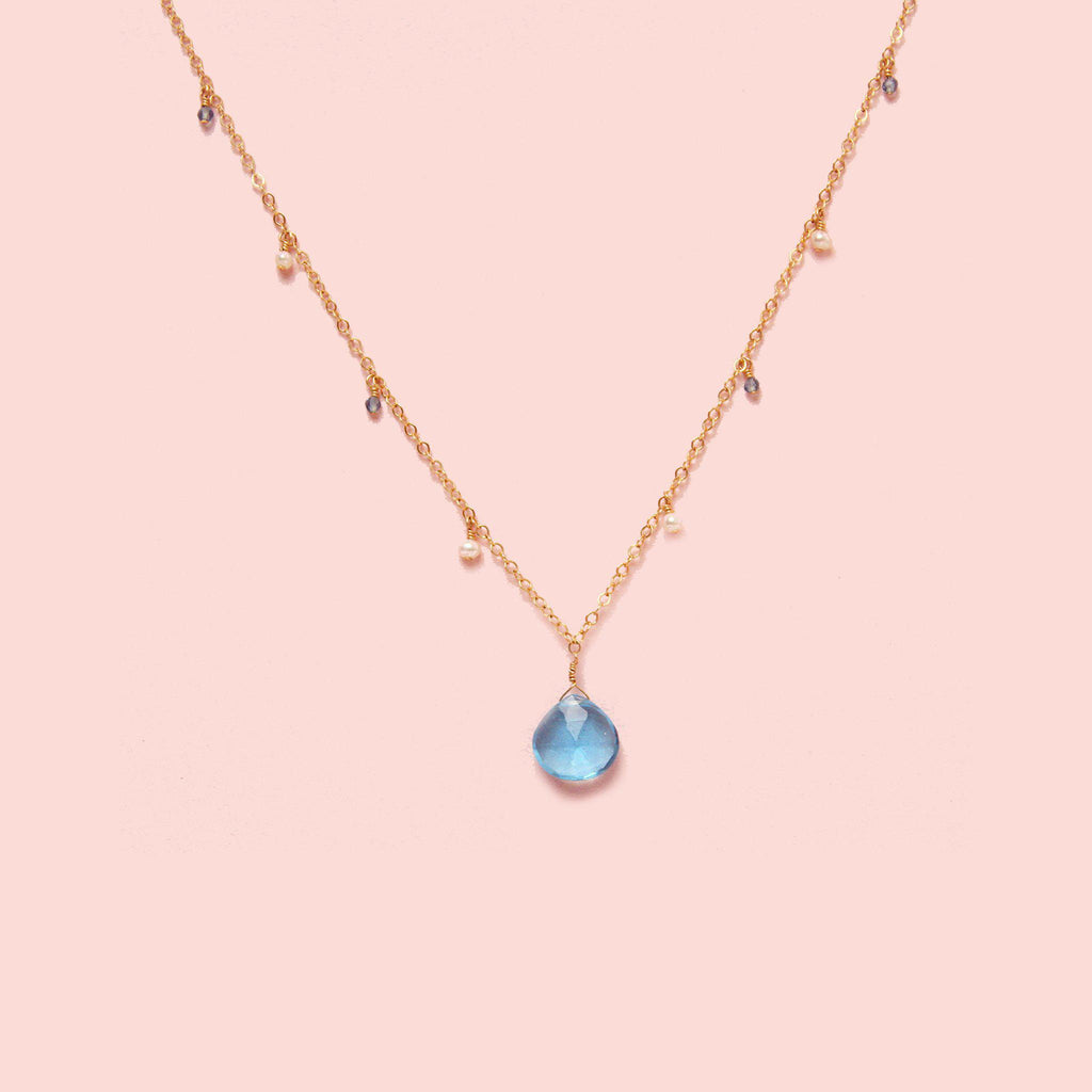 MiniDot Necklace: Ocean Blue-Adorn Necklace-La Meno