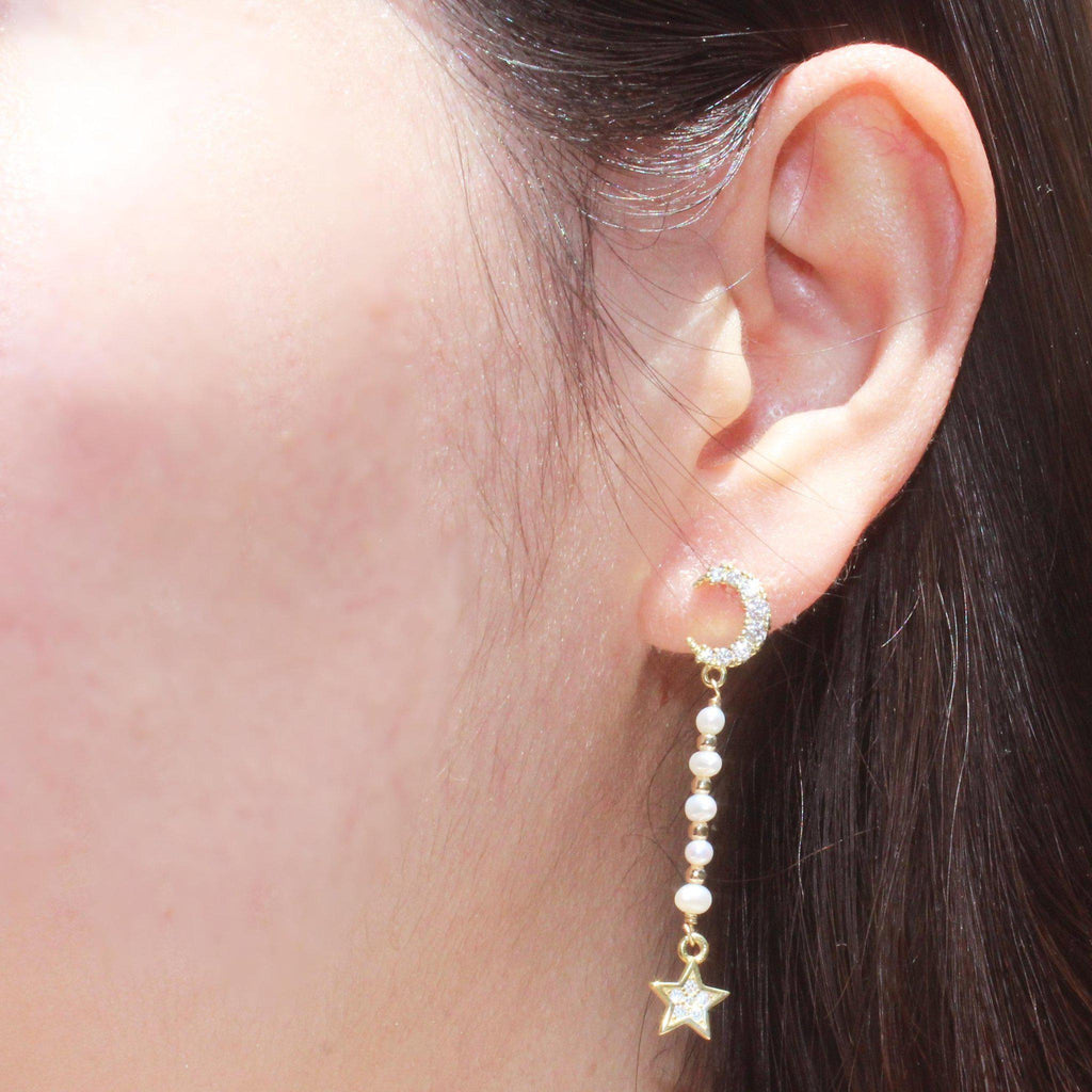 Moon Charm with Pearl & Star Earring-Adorn Earring-La Meno