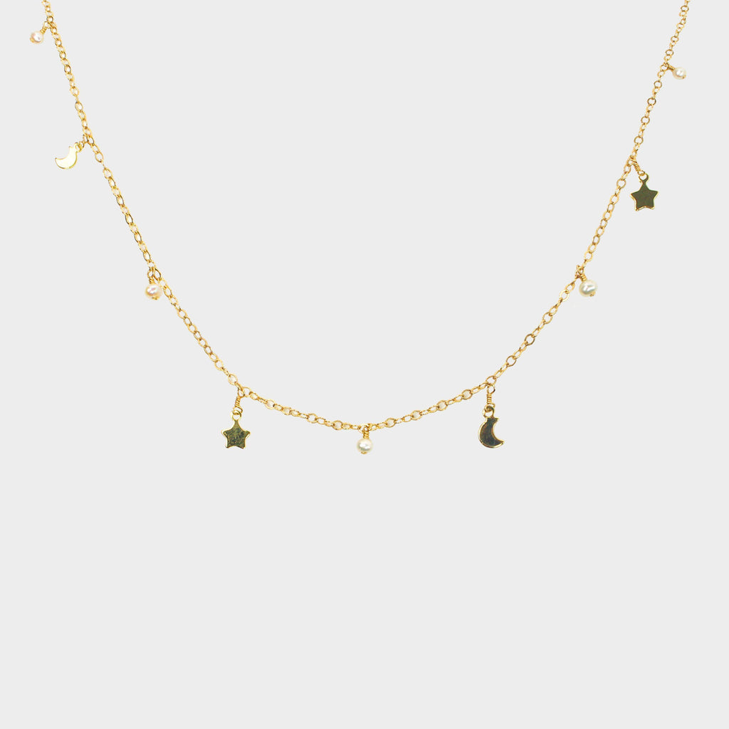 Moon & Star Necklace-Adorn Necklace-La Meno