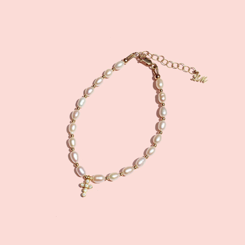 Pearl and Cross Bracelet-Adorn Bracelet-La Meno