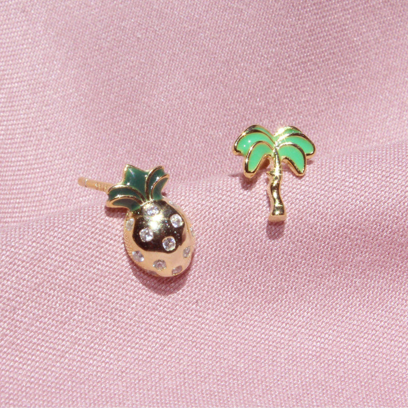 Pineapple & Palm tree Earrings-Limited Edition-La Meno