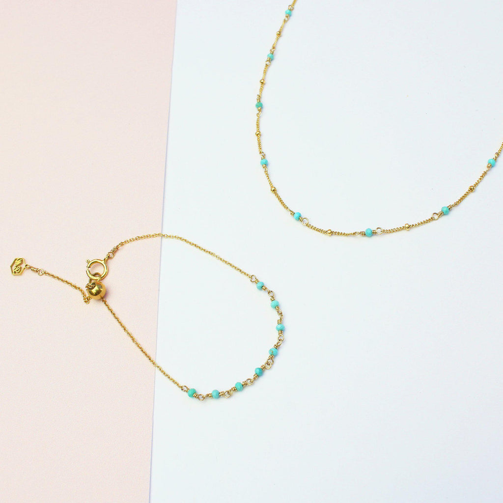 Simplest Turquoise Set-Jewelry Set-La Meno