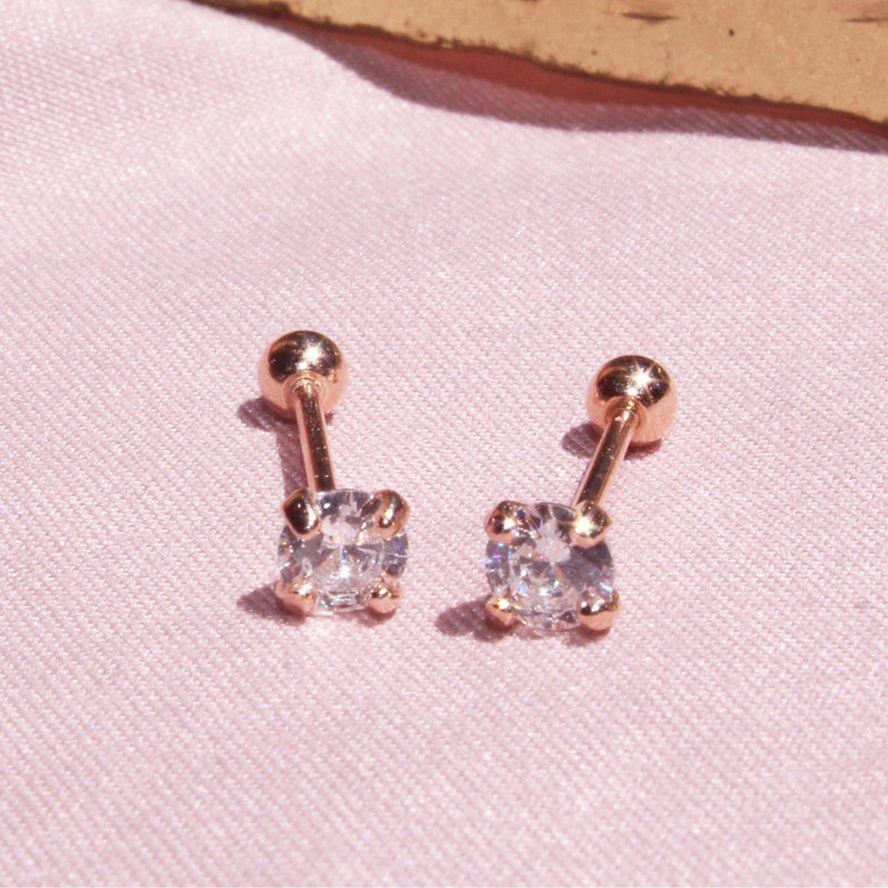 Single Diamond Screw Back Earring-Limited Edition-La Meno