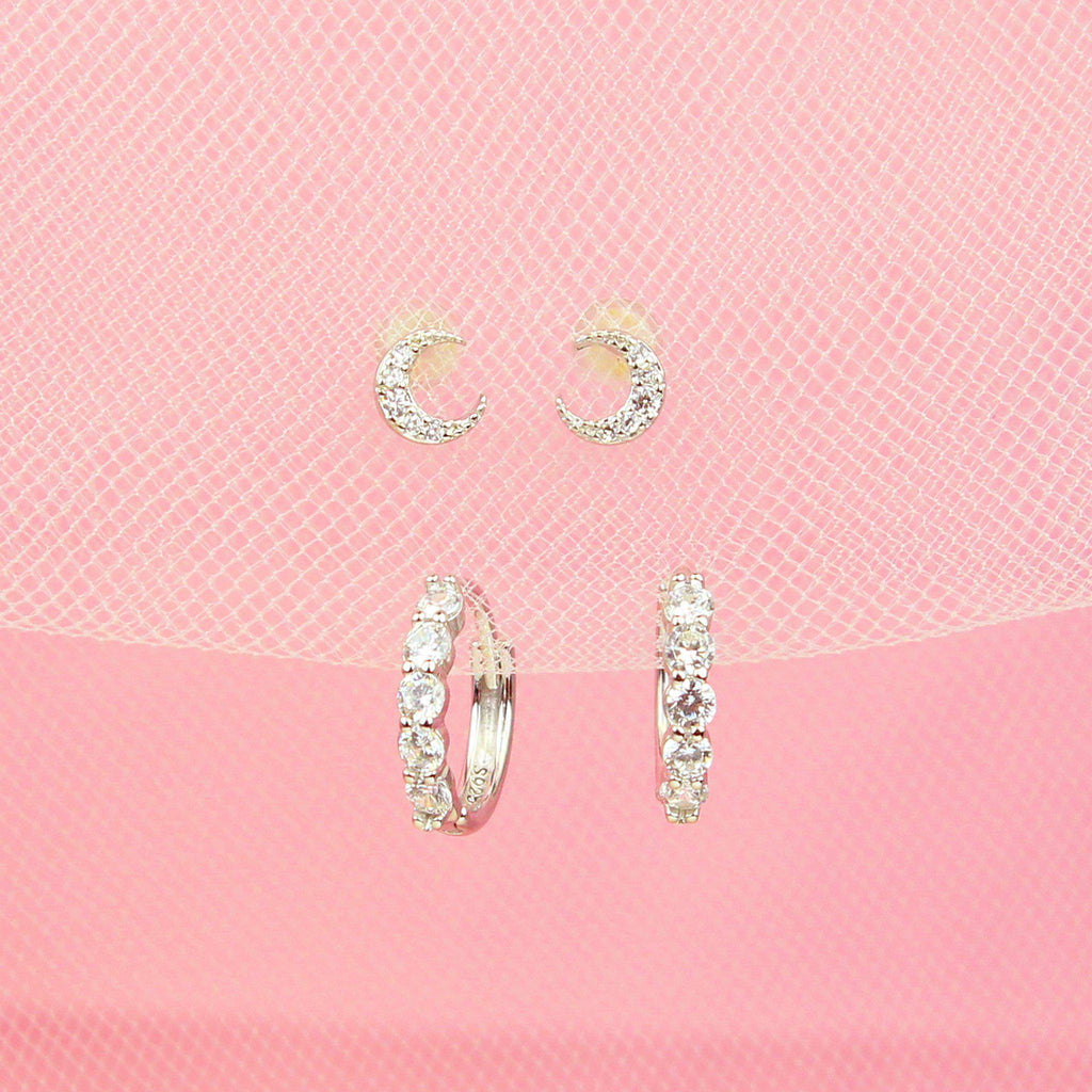 Tiny Moon Earring Set-Jewelry Set-La Meno