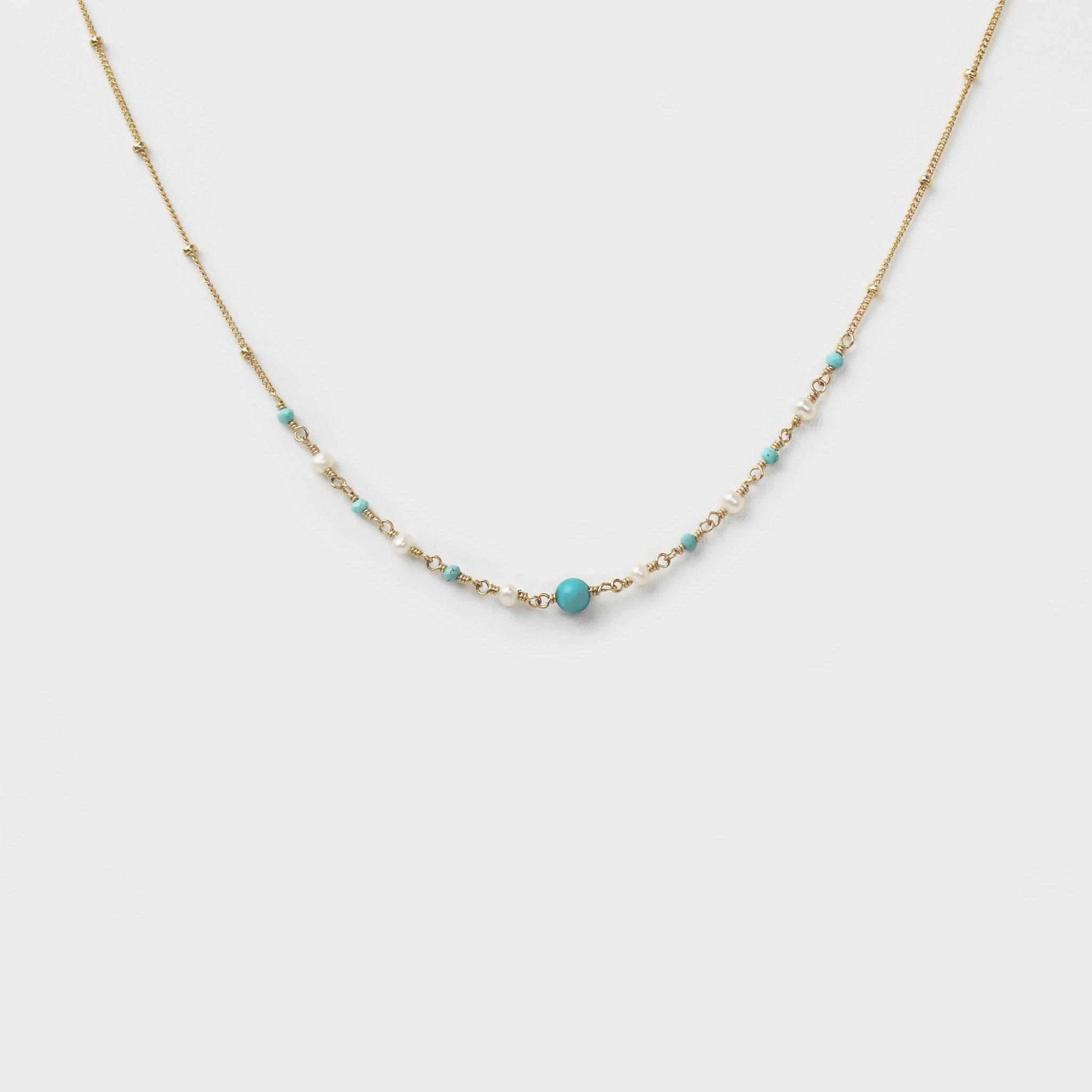 Turquoise and Pearl Necklace-Adorn Necklace-La Meno