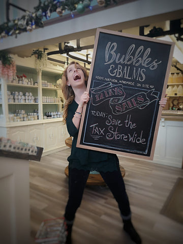 Kate of Bubbles & Balms Loving the Holiday Setup and Sales at the Saint John City Market in 2019