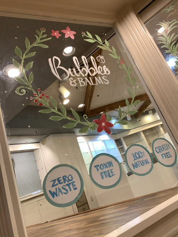 The Logo Pane in the Window Mural of Bubbles & Balms Zero-Waste Pop Up at Market Square in Saint John, New Brunswick