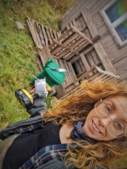 Kate of Bubbles & Balms standing proudly next to hear DIY compost in Norton, New Brunswick