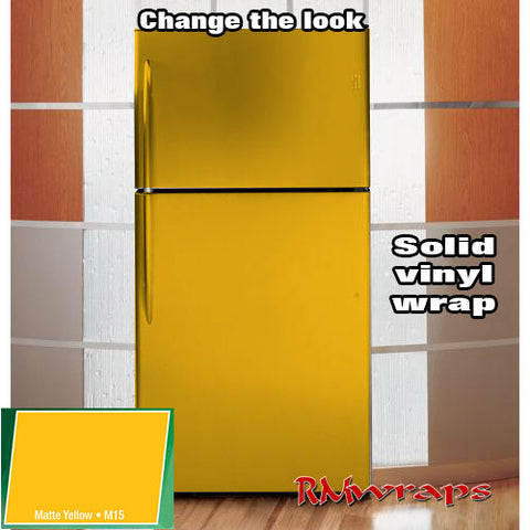 Matte yellow Refrigerator color wrap
