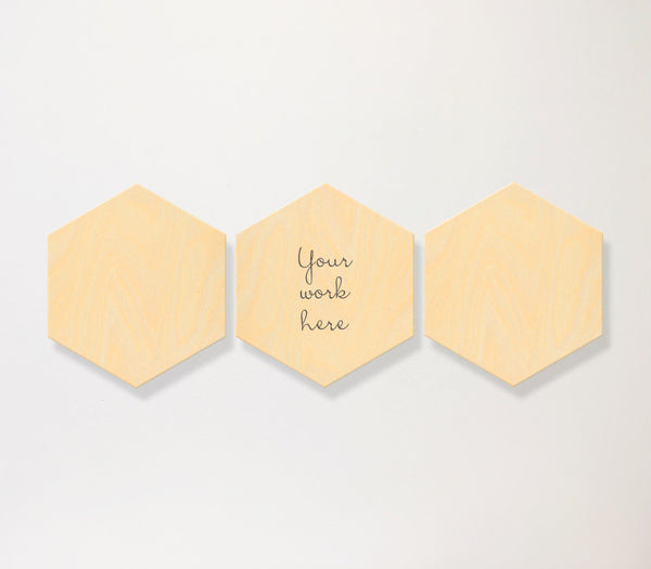 Hexagon Birch Panel - set of 3 with custom printing - Art Print Club