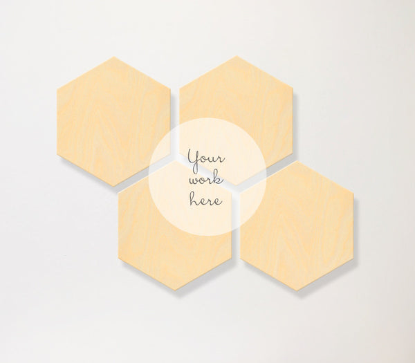 Hexagon Birch Panels - set of 4 with custom printing - Art Print Club