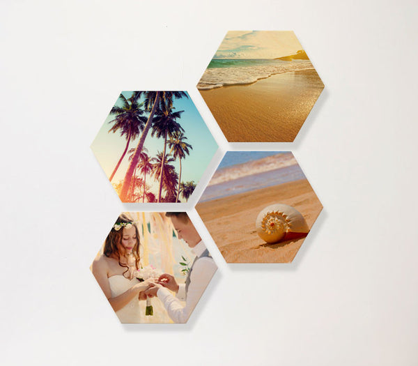 Hexagon Birch Panels - set of 4 with custom printing