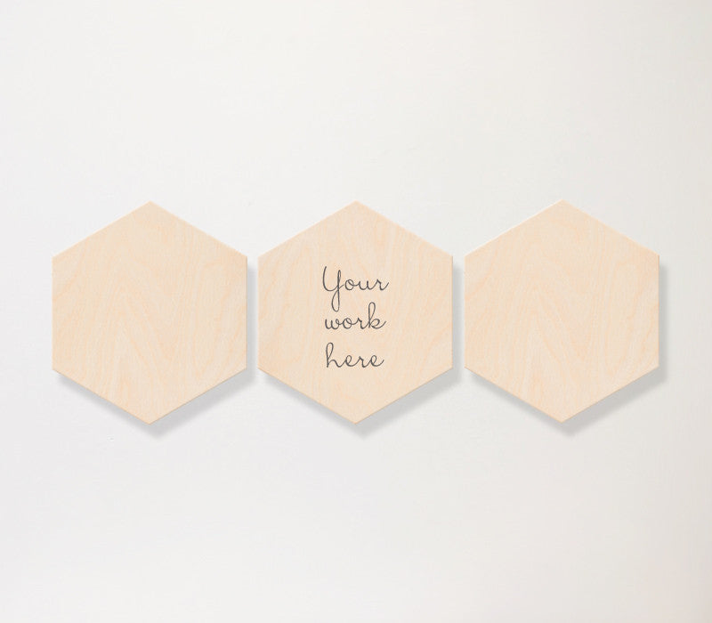 Hexagon Birch Panel Set-3-vertical - Art Print Club