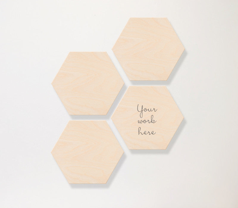 Hexagon Birch Panel Set-4-horizontal - Art Print Club