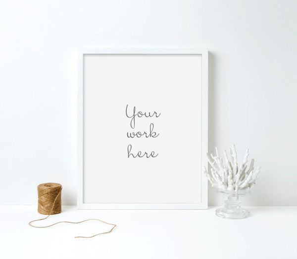 Modern White Wood Parker Frame for Custom Printing - Art Print Club