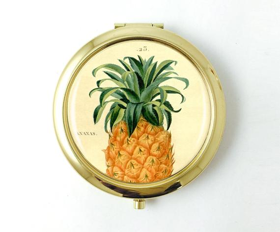 Personalized Pineapple Pocket Mirror - Art Print Club