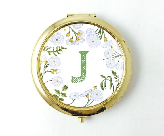 Personalized Floral Gold Pocket Mirror - Art Print Club