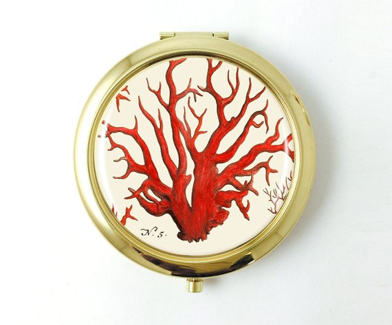 Red Coral Gold Pocket Mirror - Art Print Club