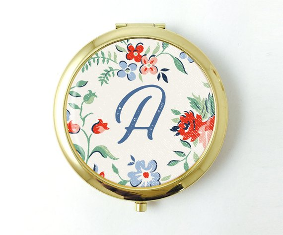 Personalized Vintage Style Floral Pocket Mirror - Art Print Club