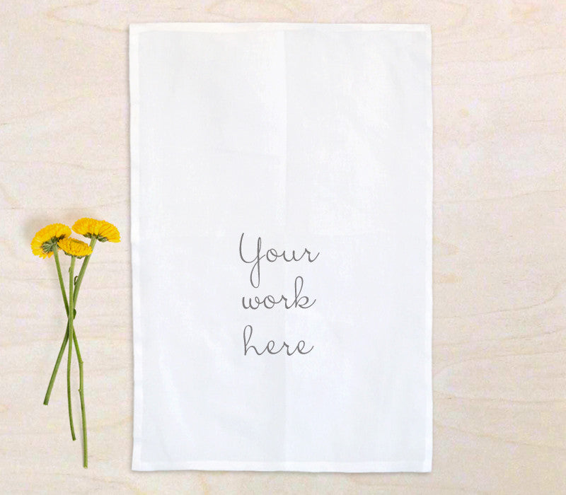 100% Cotton Flour Sack Tea Towel with custom print (sample) - Art Print Club