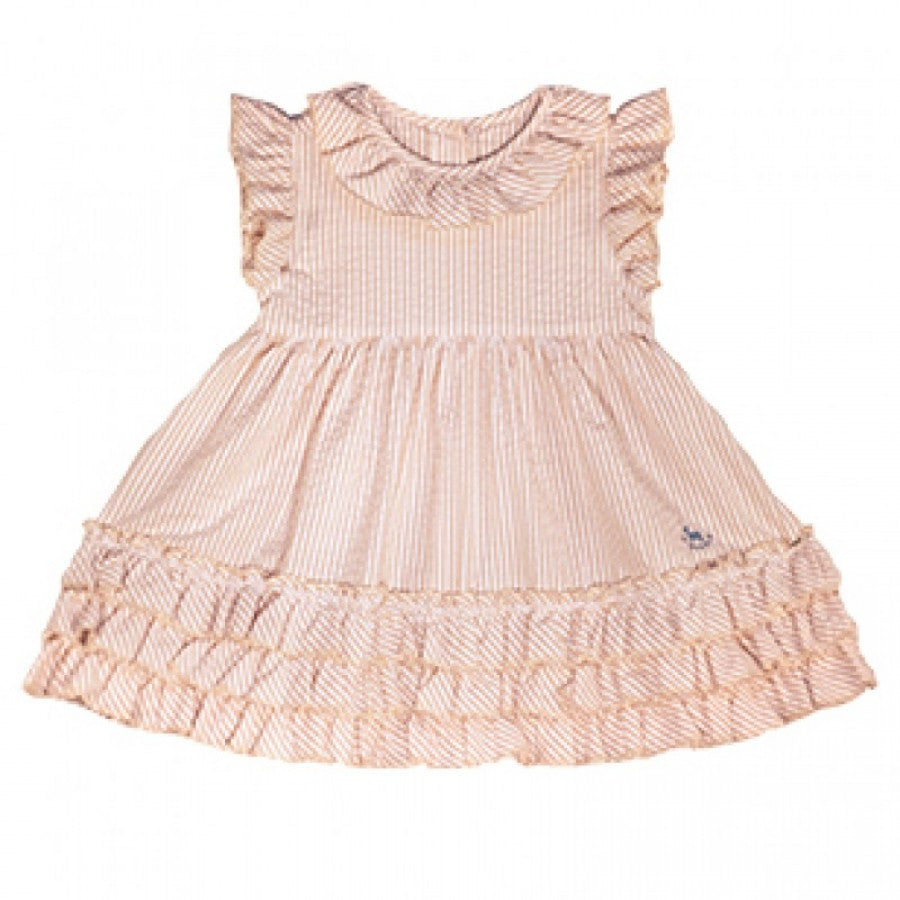 BLU PONY VINTAGE GIRLS JUDY KHAKI RUFFLE DRESS