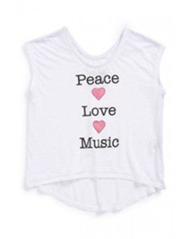 Chaser Girls 'Peace and Love and Music' Burnout White Tank Tee