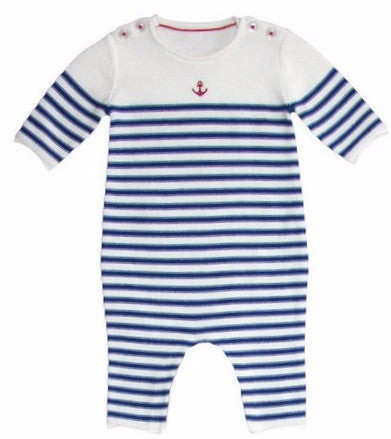 Petit Bateau Baby Boy Striped Romper with Anchor Detail