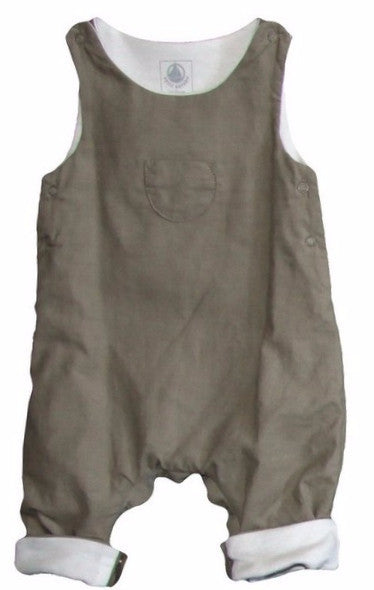 Petit Bateau Baby Romper with Front Pocket-Olive Color