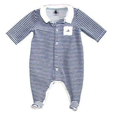 Petit Bateau Baby Boy Velour Striped Front Snap Footie with Collar