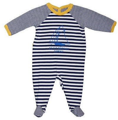 Petit Bateau Baby Boy Striped Back Snap Footie with Boat Graghic